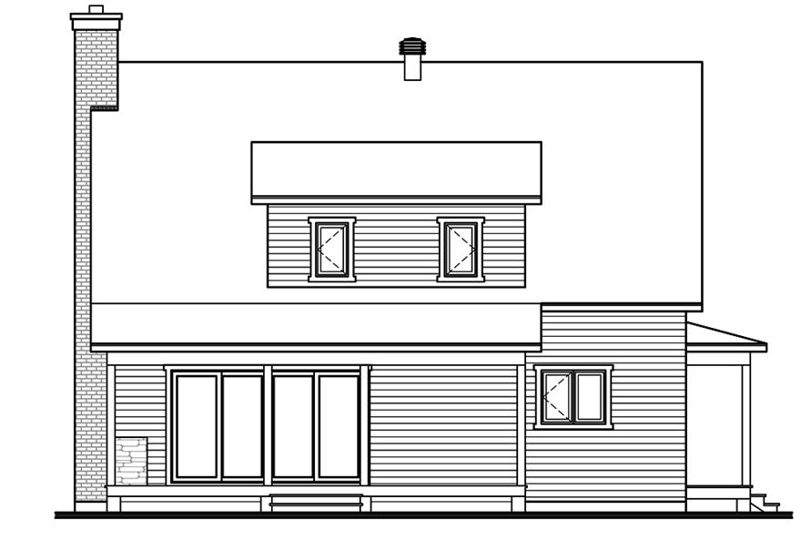 Home Plan Rear Elevation of this 3-Bedroom,1772 Sq Ft Plan -126-1899