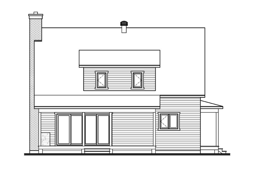 Home Plan Rear Elevation of this 3-Bedroom,1772 Sq Ft Plan -126-1904