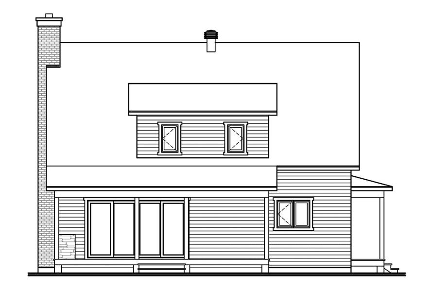 Home Plan Rear Elevation of this 3-Bedroom,1772 Sq Ft Plan -126-1909