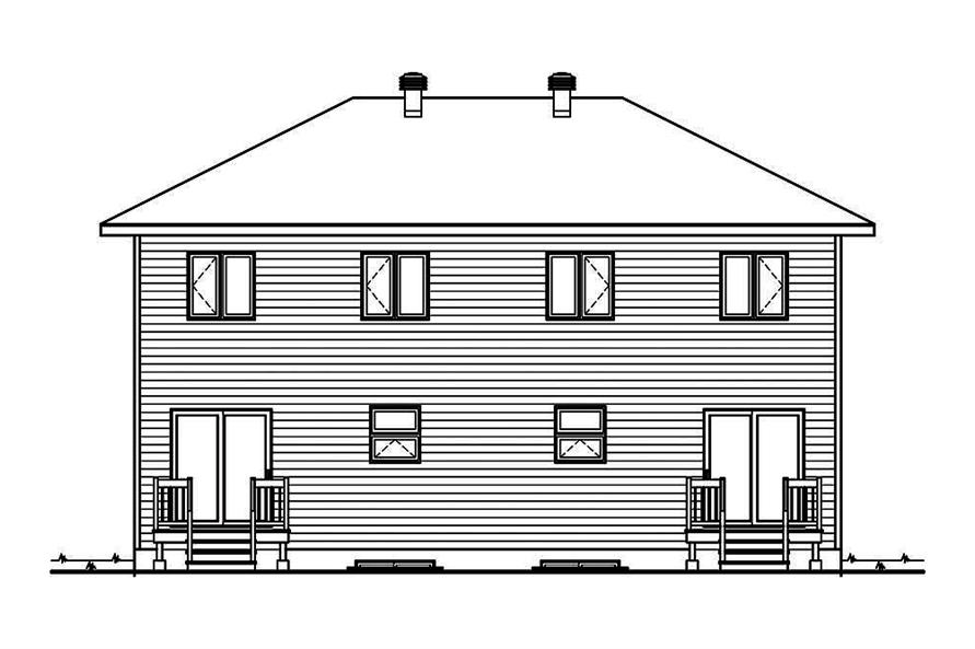 Home Plan Rear Elevation of this 6-Bedroom,2760 Sq Ft Plan -126-1910