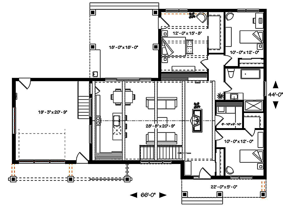 1 Beds 1 Baths 440 Sq Ft Plan 924 7: Contemporary Floor Plan