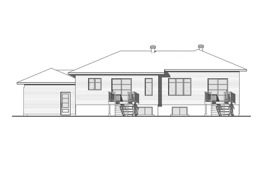 Home Plan Rear Elevation of this 3-Bedroom,3568 Sq Ft Plan -126-1918