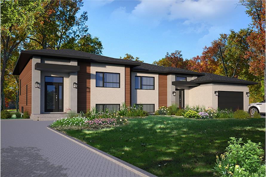 3-Bedroom, 3568 Sq Ft Contemporary Home Plan - 126-1918 - Main Exterior