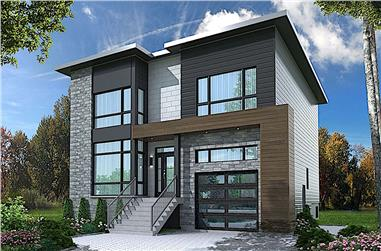 4-Bedroom, 2467 Sq Ft Modern House Plan - 126-1924 - Front Exterior