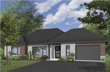 2-Bedroom, 2012 Sq Ft Contemporary House Plan - 126-1928 - Front Exterior
