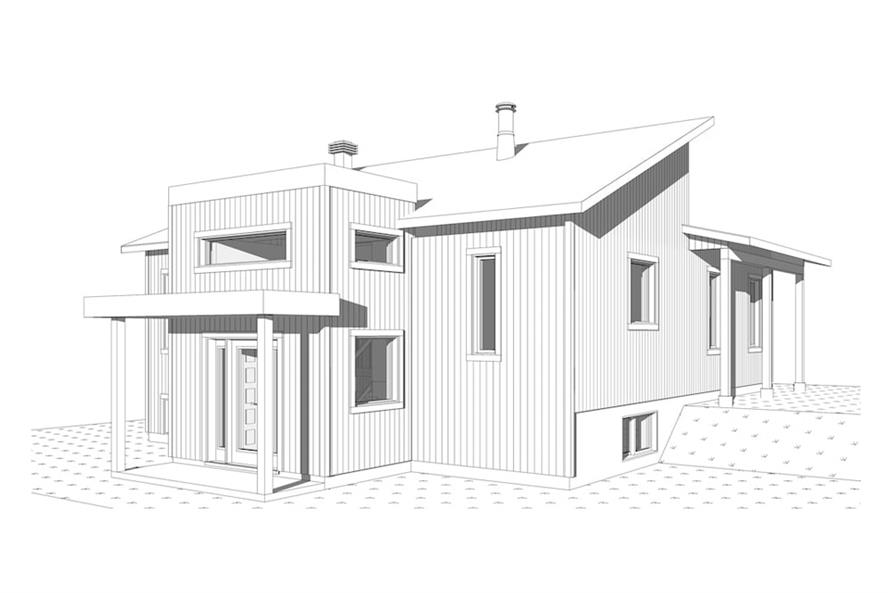 Home Plan Left Elevation of this 1-Bedroom,1141 Sq Ft Plan -126-1930