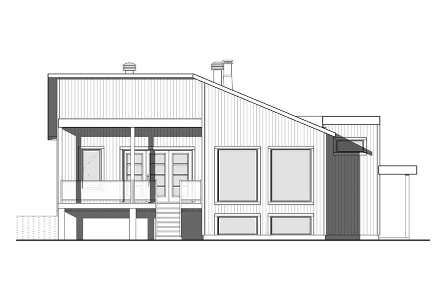 Home Plan Rear Elevation of this 1-Bedroom,1141 Sq Ft Plan -126-1930