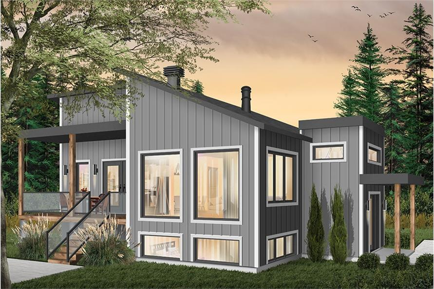 1-Bedroom, 1141 Sq Ft Modern Home Plan - 126-1930 - Main Exterior