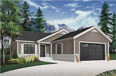 2-Bedroom, 1040 Sq Ft Craftsman Home Plan - 126-1939 - Main Exterior