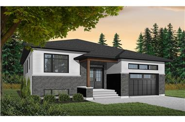 3-Bedroom, 1590 Sq Ft Contemporary Home Plan - 126-1943 - Main Exterior