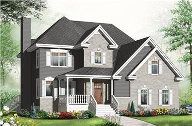 4-Bedroom, 2714 Sq Ft Country Home Plan - 126-1950 - Main Exterior