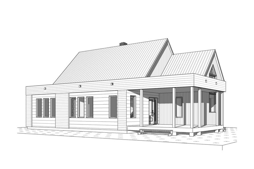 Home Plan Front Elevation of this 2-Bedroom,1200 Sq Ft Plan -126-1960
