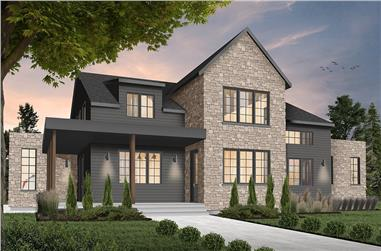 4-Bedroom, 3175 Sq Ft Transitional Farmhouse Plan - #126-1963 - Main Exterior