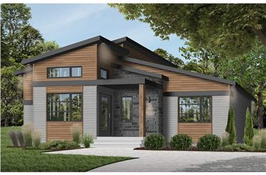 1-Bedroom, 1212 Sq Ft Modern Home Plan - 126-1966 - Main Exterior