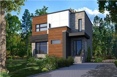 3-Bedroom, 1680 Sq Ft Contemporary House Plan - 126-1968 - Front Exterior