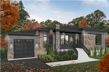 2-Bedroom, 1187 Sq Ft Contemporary Home Plan - 126-1980 - Main Exterior