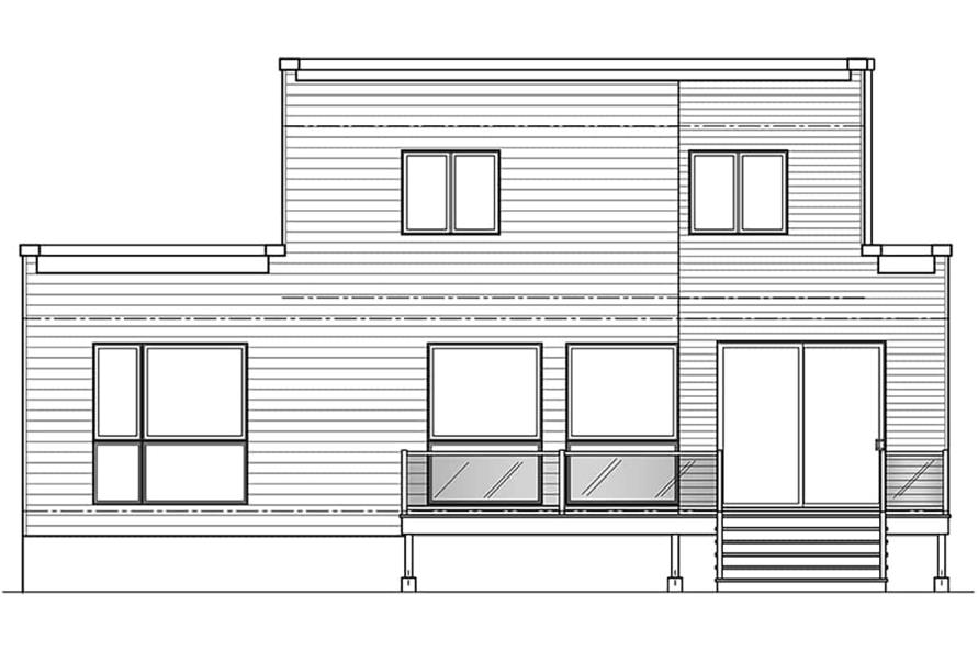 Home Plan Rear Elevation of this 4-Bedroom,1587 Sq Ft Plan -126-1987
