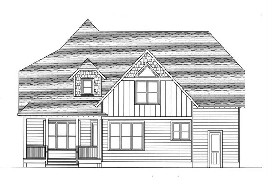 Home Plan Rear Elevation of this 4-Bedroom,2877 Sq Ft Plan -127-1000