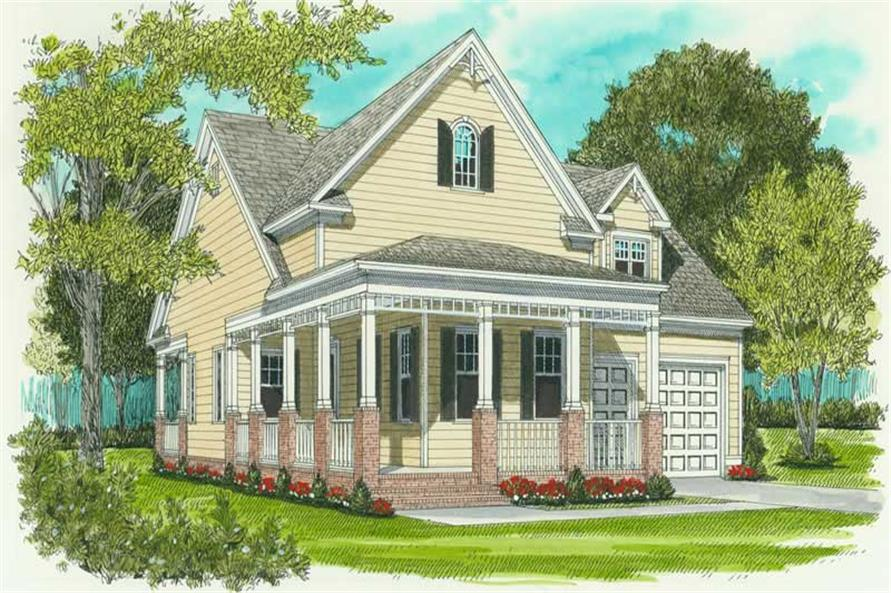 2-Bedroom, 1539 Sq Ft Colonial House Plan - 127-1001 - Front Exterior