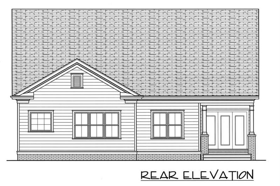 Home Plan Rear Elevation of this 2-Bedroom,1539 Sq Ft Plan -127-1001