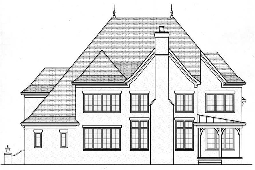 Home Plan Rear Elevation of this 5-Bedroom,3798 Sq Ft Plan -127-1002