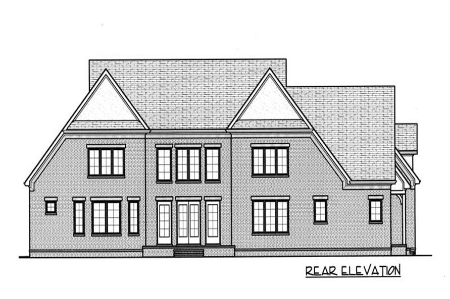 Home Plan Rear Elevation of this 4-Bedroom,4690 Sq Ft Plan -127-1004