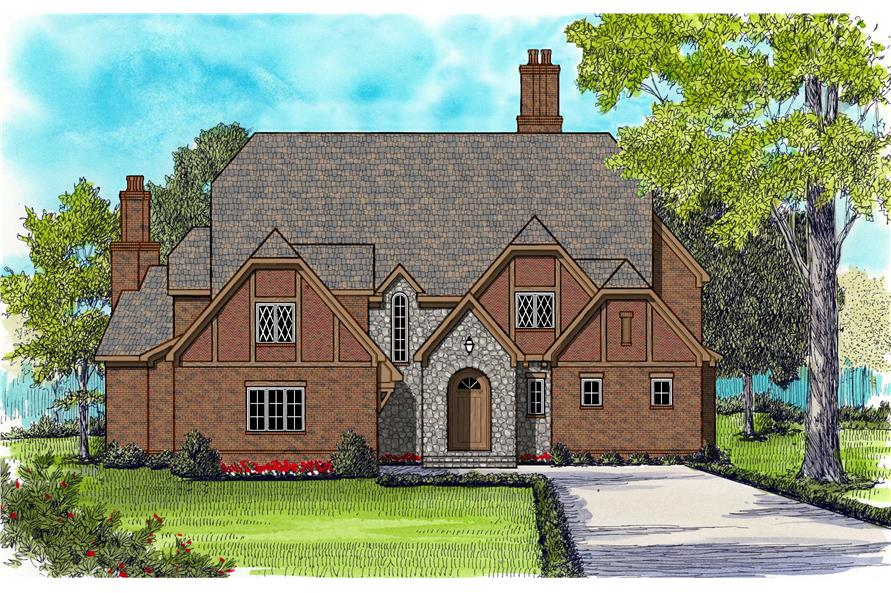 4-Bedroom, 6280 Sq Ft European House Plan - 127-1006 - Front Exterior