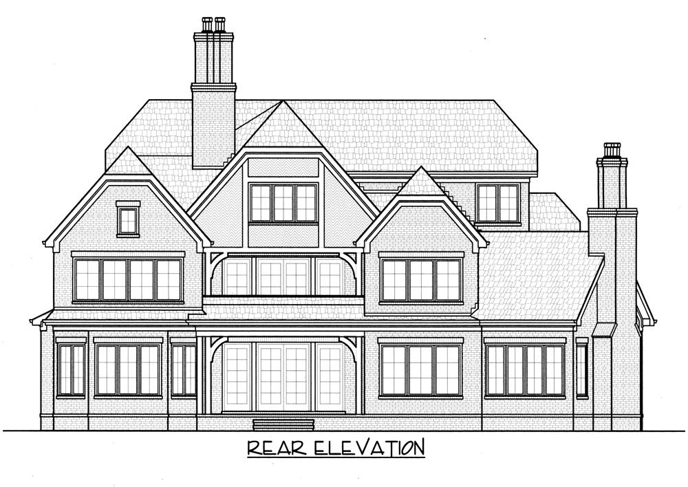 Home Plan Rear Elevation for this set of luxury homeplans.