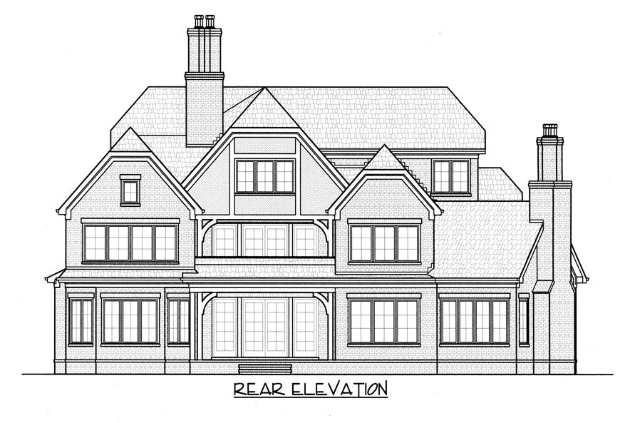 Home Plan Rear Elevation of this 4-Bedroom,6280 Sq Ft Plan -127-1006