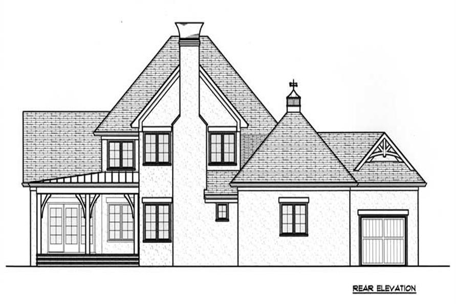 Home Plan Rear Elevation of this 4-Bedroom,4334 Sq Ft Plan -127-1010