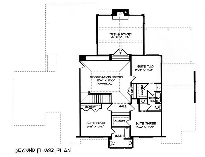 House Plan EDG-4334 Second Floor Plan