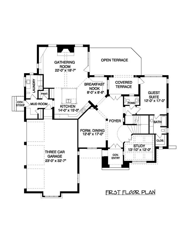 This image shows the first floor plan for these Contemporary House Plans.