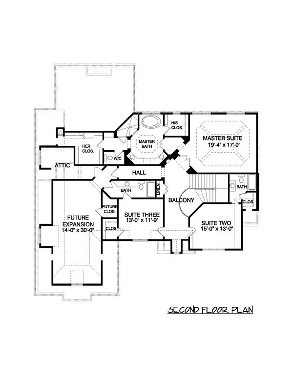 Floor Plan Second Story for this set of Contemporary Home Plans.