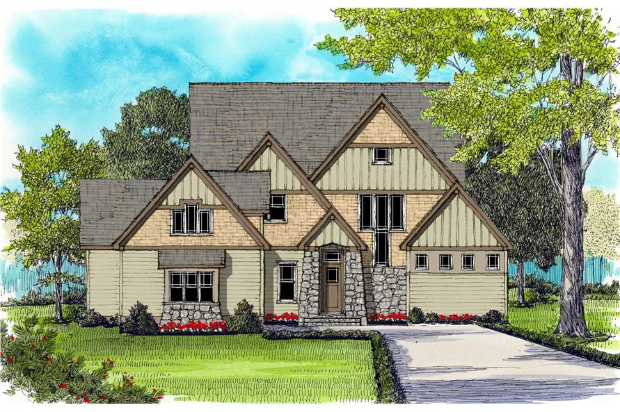 Craftsman Home Plans EDG3866 color rendering.