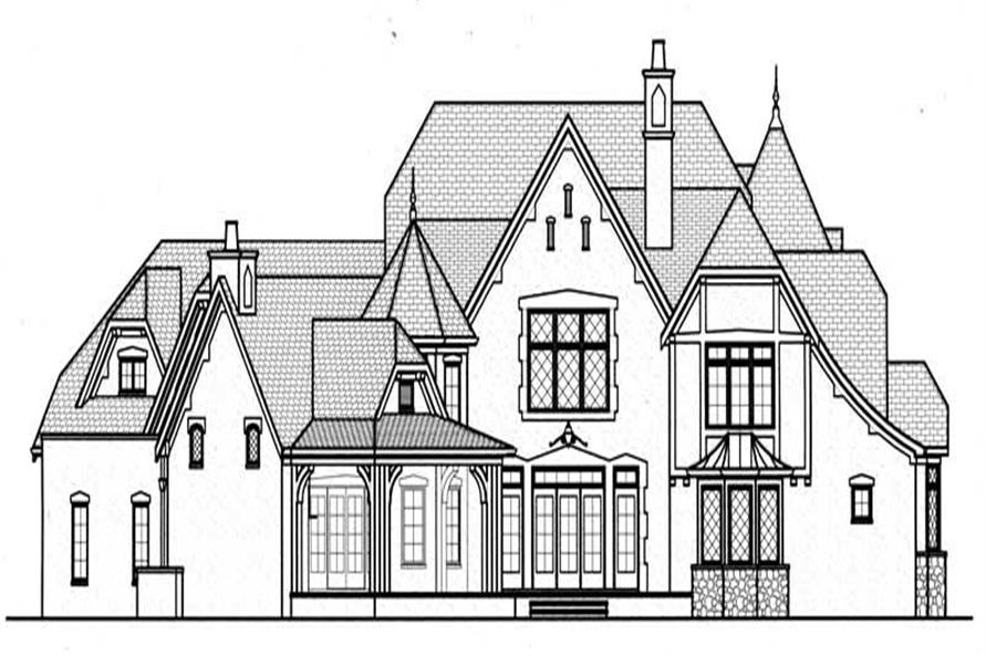 Home Plan Rear Elevation of this 5-Bedroom,6275 Sq Ft Plan -127-1020