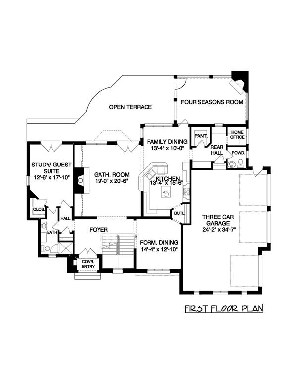 Floor Plan First Story for these french house plans.
