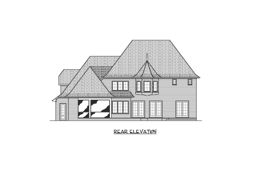 Home Plan Rear Elevation of this 4-Bedroom,3932 Sq Ft Plan -127-1030