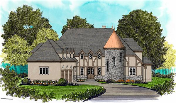 French houseplans EDG-4926 color elevation.