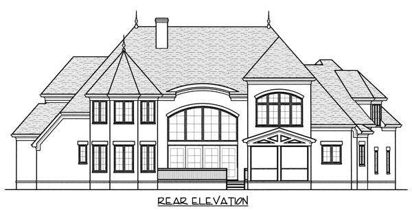 Home Plan Rear Elevation for this set of french house plans.