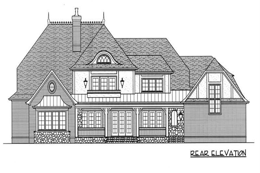 Home Plan Rear Elevation of this 4-Bedroom,5796 Sq Ft Plan -127-1034