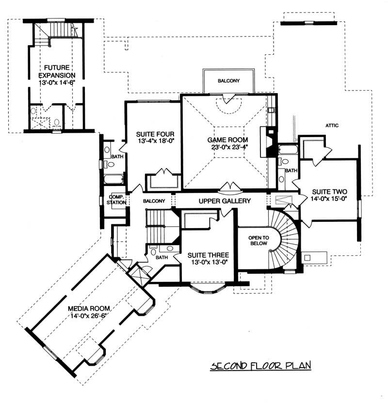 House Plan EDG-5796 Second Floor Plan