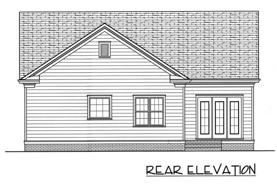 Home Plan Rear Elevation of this 3-Bedroom,1728 Sq Ft Plan -127-1038
