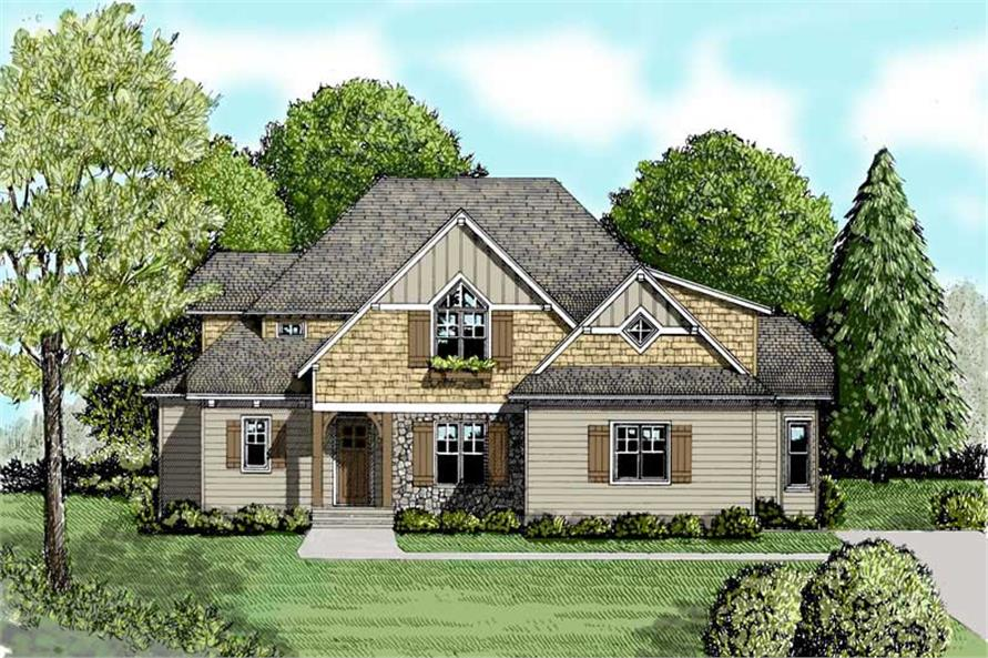 4-Bedroom, 2916 Sq Ft Craftsman House Plan - 127-1039 - Front Exterior
