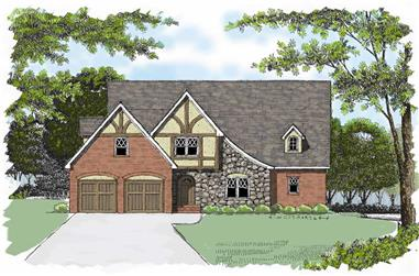 4-Bedroom, 2896 Sq Ft Country Home Plan - 127-1044 - Main Exterior