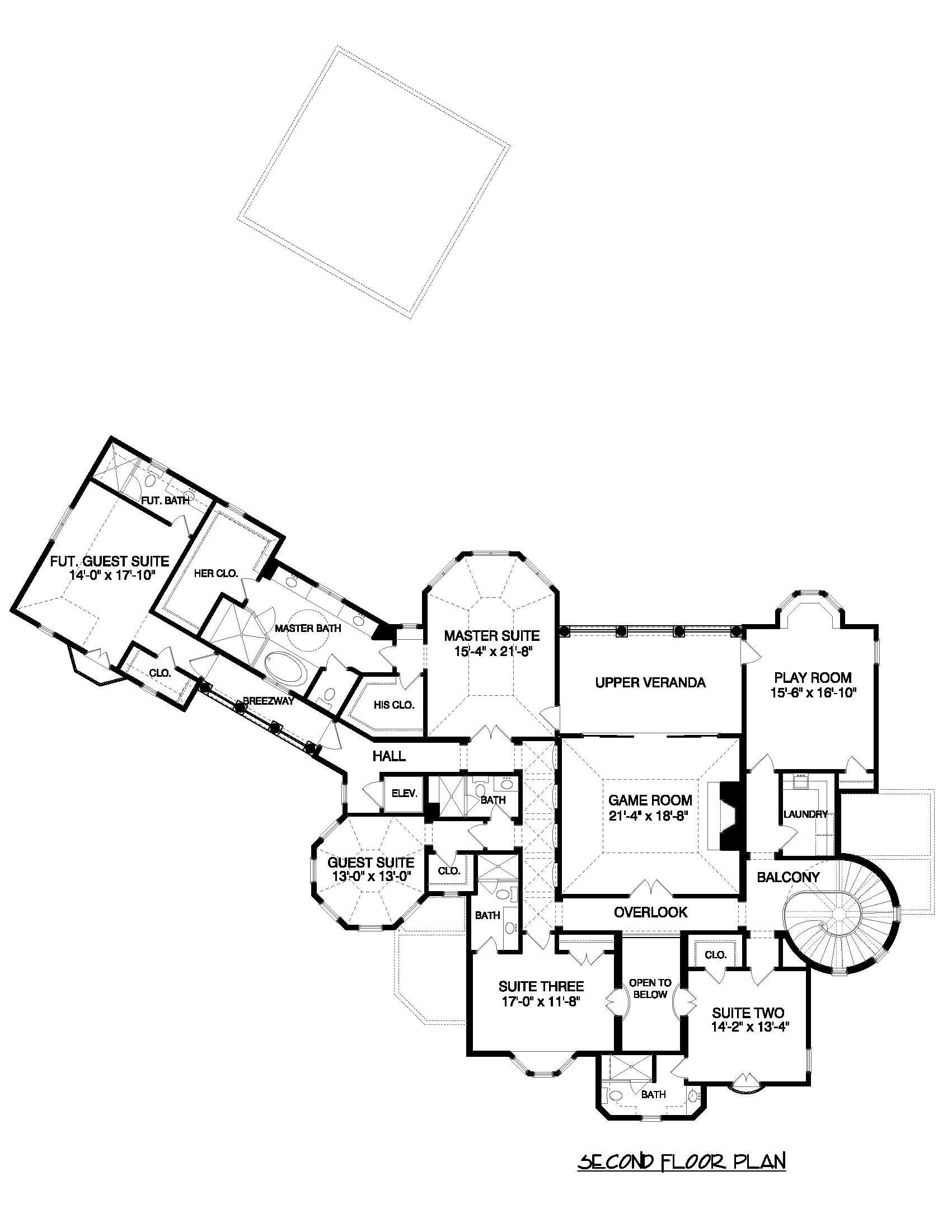 Floor Plan Second Story for these luxury house plans.