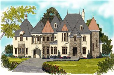6-Bedroom, 6140 Sq Ft French House Plan - 127-1045 - Front Exterior