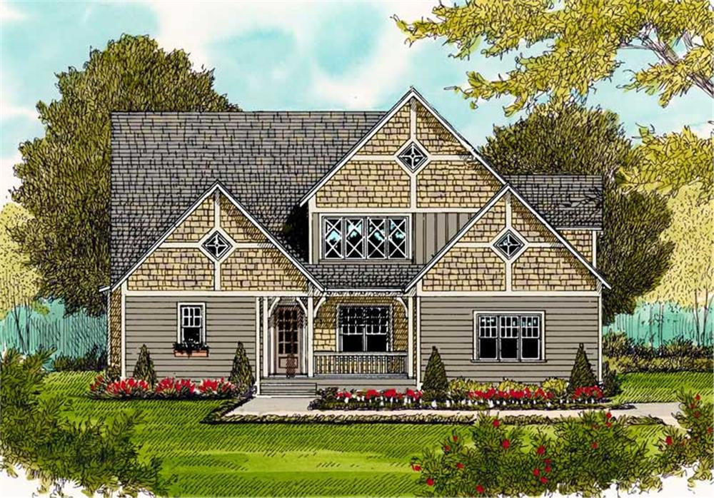 Front elevation of Arts and Crafts home (ThePlanCollection: House Plan #127-1050)