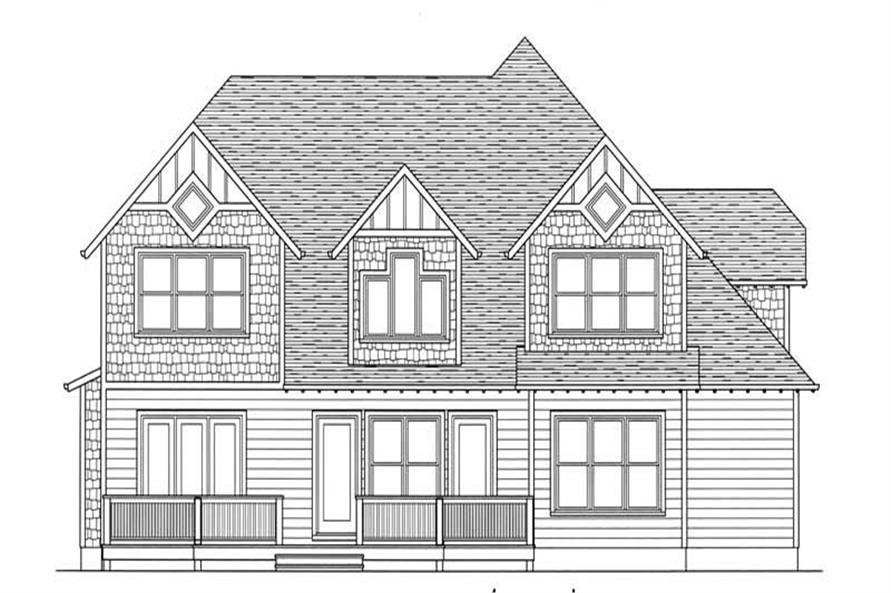 House Plan Rustic Cottage Rear Elevation