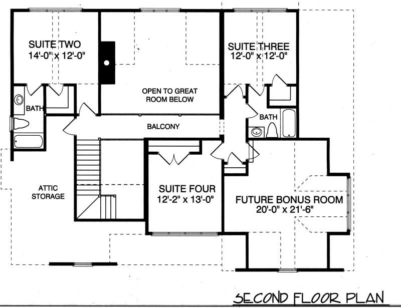 House Plan Rustic Cottage Second Floor Plan
