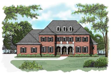 4-Bedroom, 4574 Sq Ft Colonial Home Plan - 127-1051 - Main Exterior